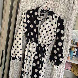 Long black and white polka dot dress